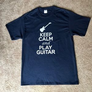 Keep Calm and Play Guitar T shirt size Large Navy